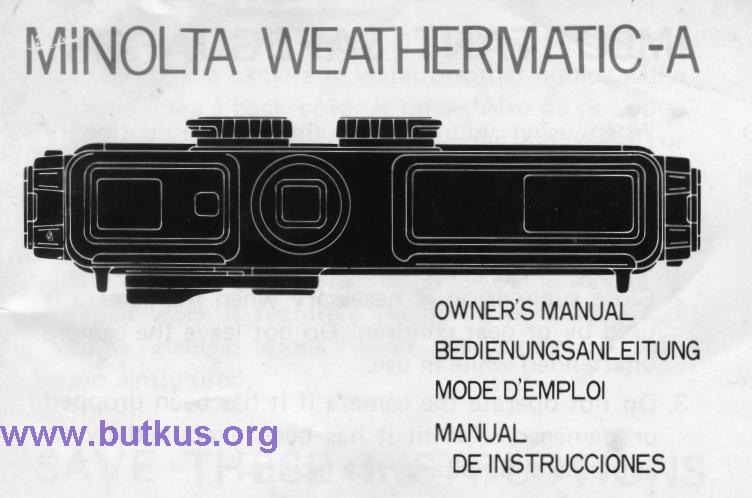 Minolta Weathermatic - A user manual, instruction manual on