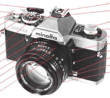 Minolta xg-m-50mm f35 md macro rokkorx, manuals & shoulder strap.