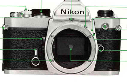 A professional nikon fm2 manual 35mm film camera in silver with.